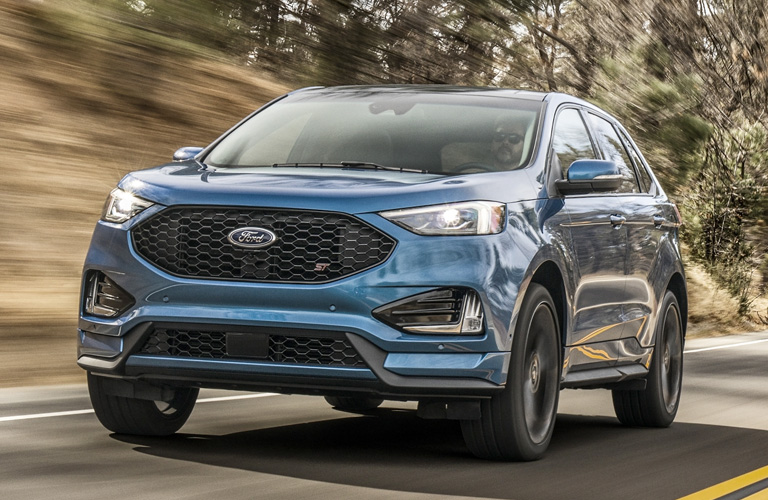 Blue 2020 Ford Edge from exterior front drivers side