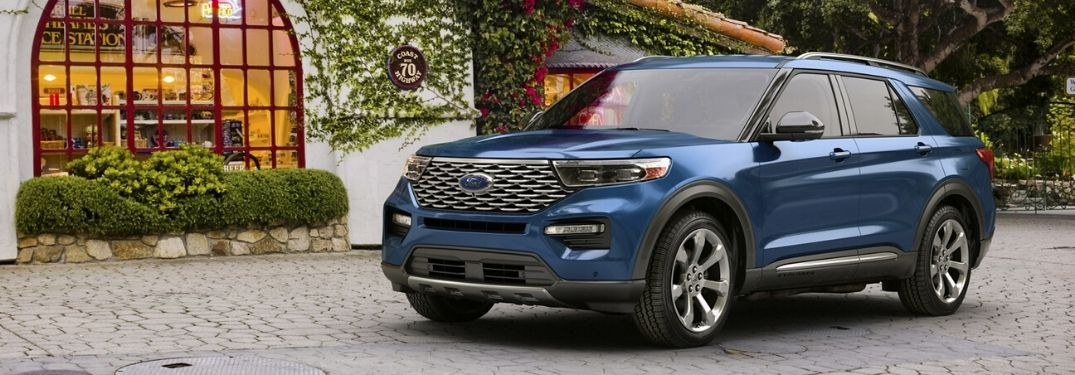2020 Ford Explorer parked in front of flower covered building