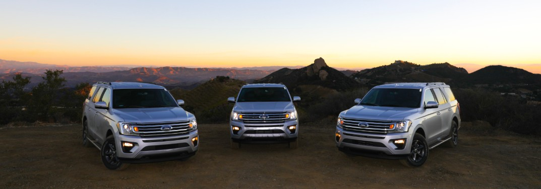 2018 Ford Expedition models parked in front of sunset