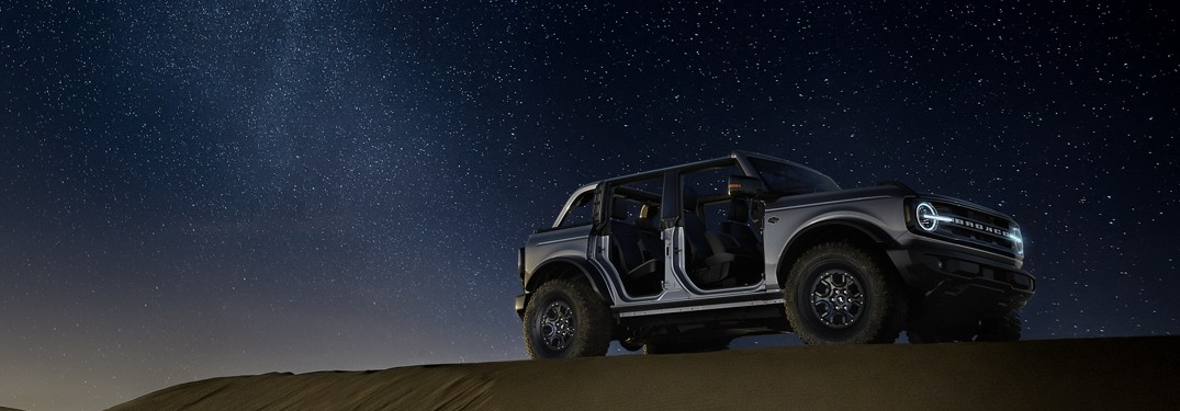 2021 Ford Bronco Sport with doors removed in front of night sky