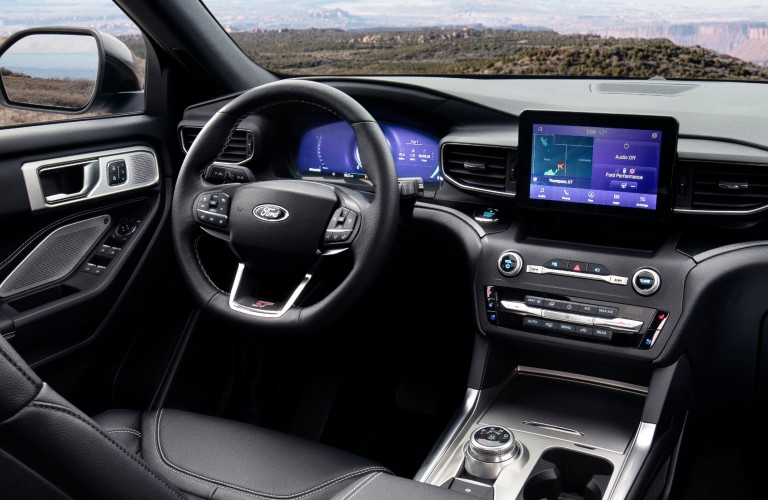 Interior front dash with 8-inch display 2021 Explorer