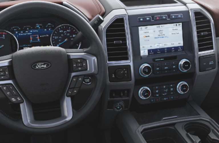 Interior front dash of 2021 Ford Super Duty truck