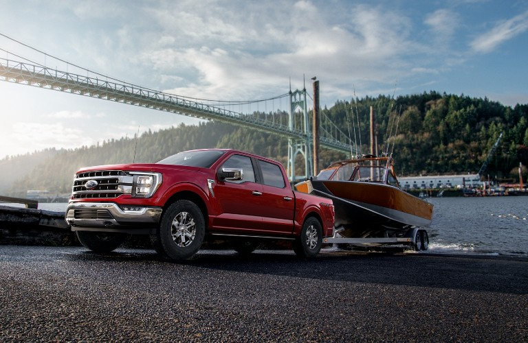 2021 Ford F-150 towing boat from water