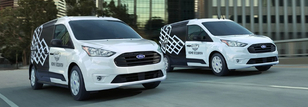 Two 2021 Ford Transit Connect vans side by side