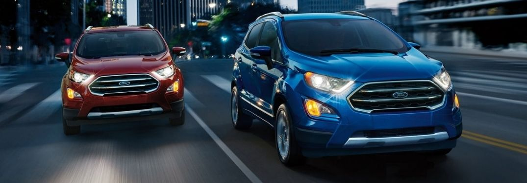 Two 2021 Ford EcoSport on road