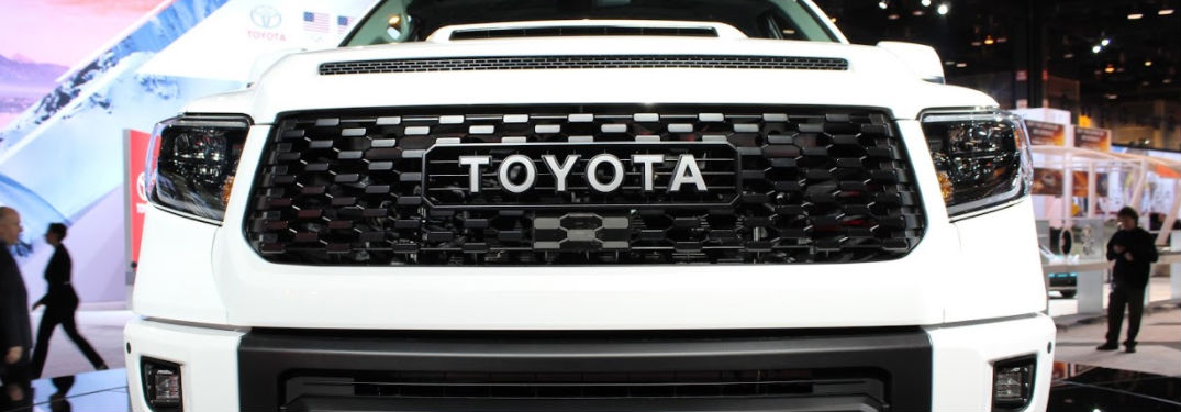 close up view of grille on 2019 Toyota Tundra TRD Pro at Chicago Auto Show
