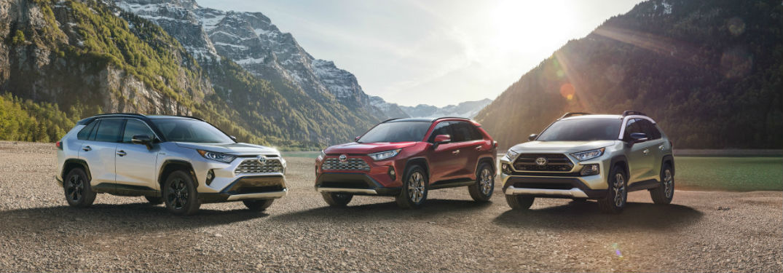 three 2019 Toyota RAV4 models parked