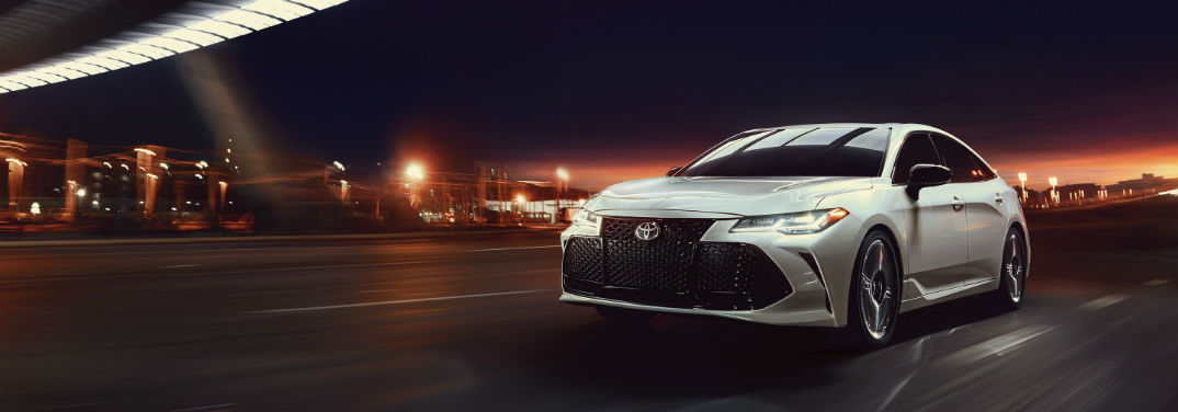 "2019 Toyota Avalon ""Serious Play"" Campaign with image of a 2019 Toyota Avalon Touring Prototype in Wind Chill Pearl with available Advanced Safety Package"