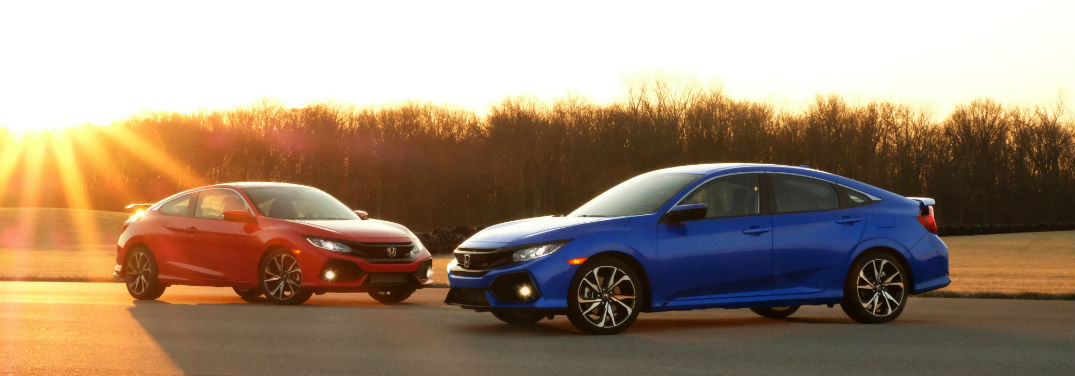 2019 Honda Civic Lineup Pricing Info with image of a 2019 Honda Civic Si Coupe and 2019 Honda Civic Si Sedan parked with the sun setting