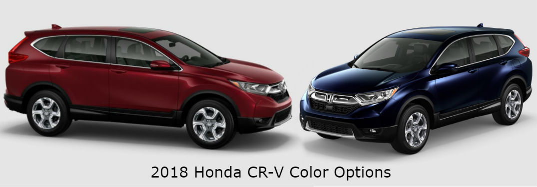 "2018 Honda CR-V Exterior Color Options with image of 2018 Honda CR-V in Basque Red Pearl II and 2018 Honda CR-V in Obsidian Blue Pearl with text saying ""2018 Honda CR-V Color Options"""