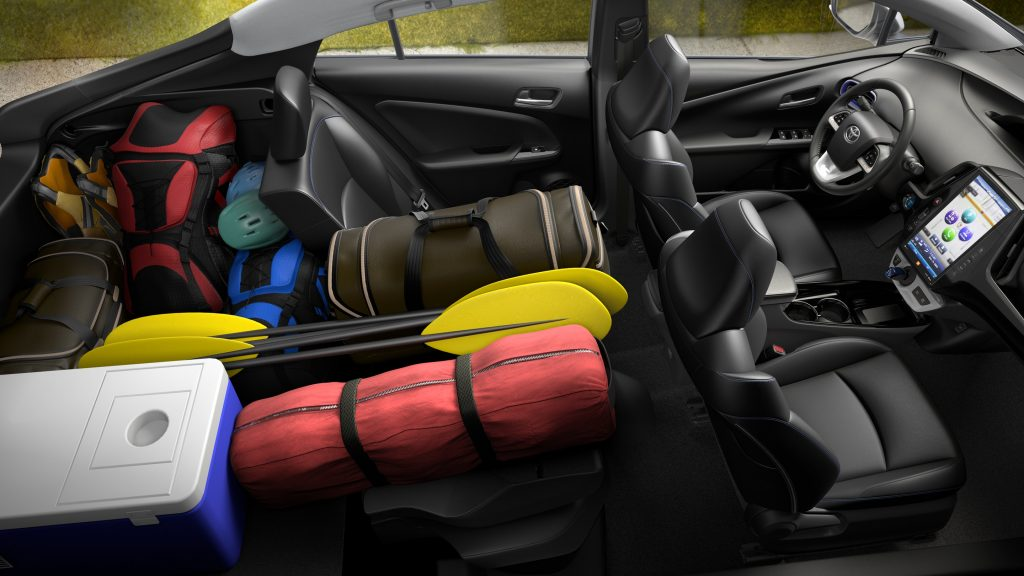 2018 Toyota Prius interior space with loaded cargo