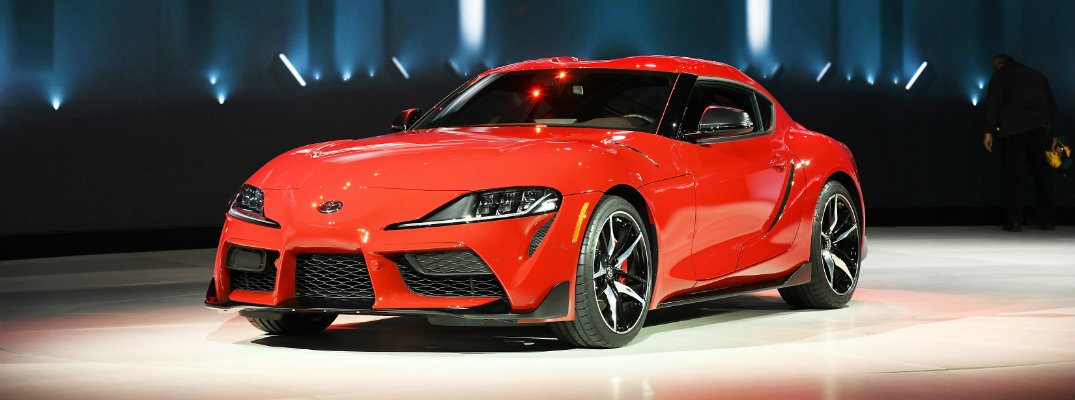 Red 2020 Toyota Supra on display at Detroit Auto Show