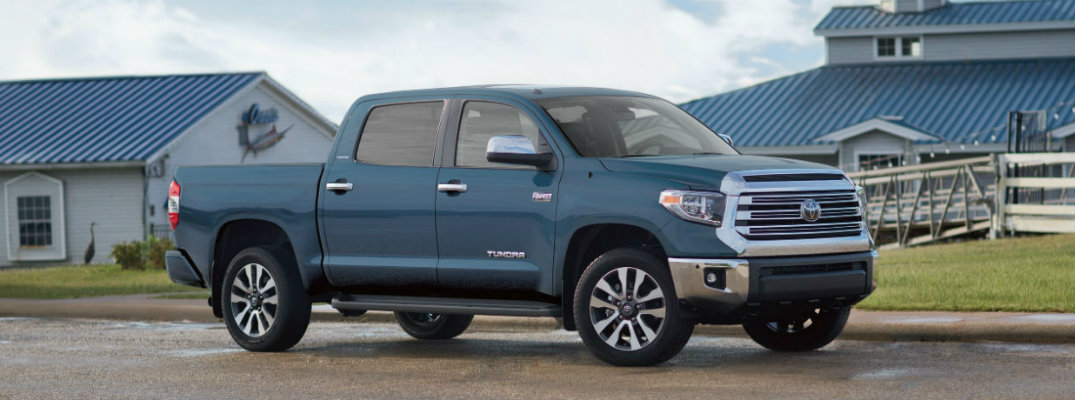 Blue 2019 Toyota Tundra on a farm