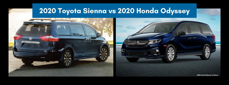 2020 Toyota Sienna set against the 2020 Honda Odyssey