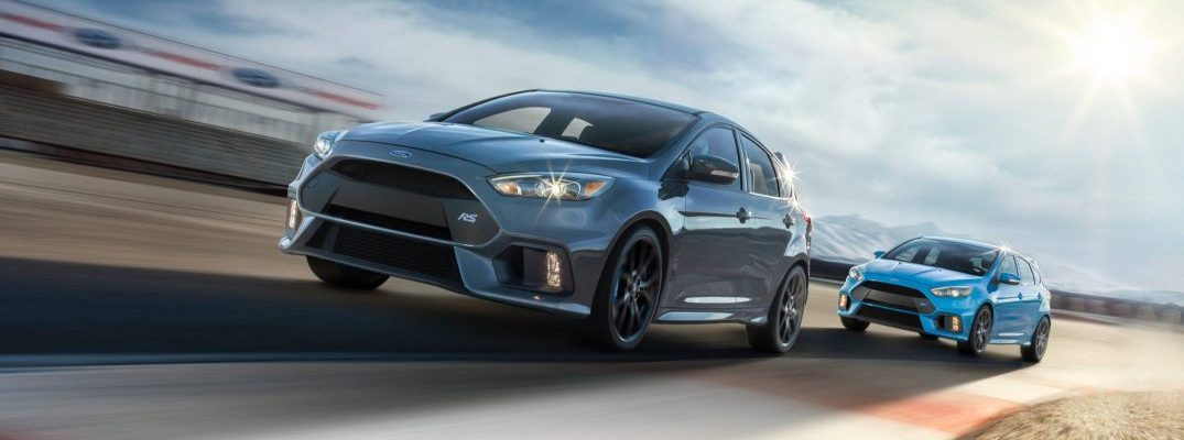 two 2017 ford focus rs models driving
