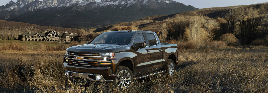 black 2019 chevy silverado in grassy field with mountains behind it