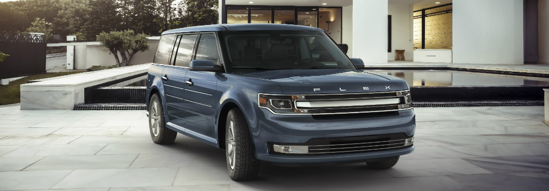 front and side view of blue 2019 ford flex