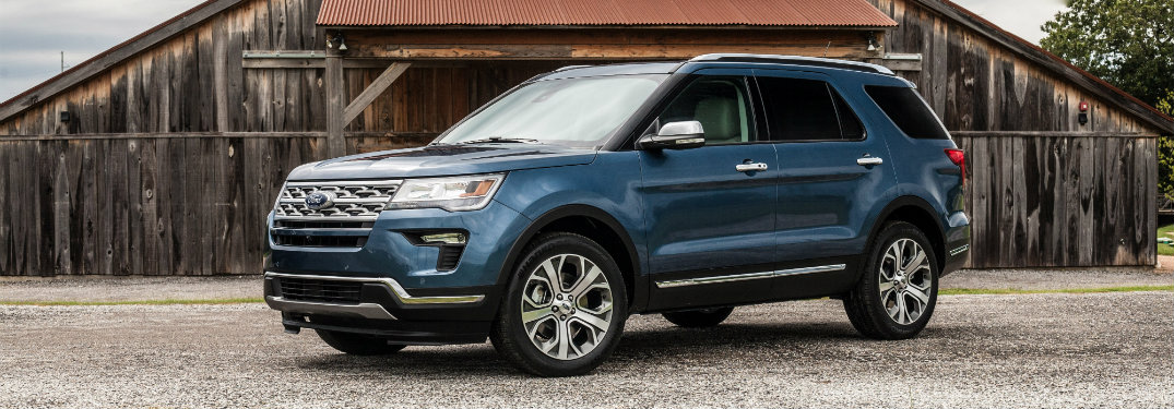 front and side view of blue 2019 ford explorer
