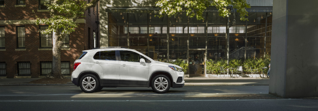 side view of white 2019 chevy trax