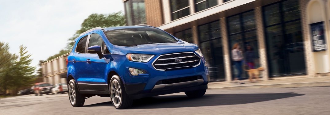 front and side view of blue 2019 ford ecosport