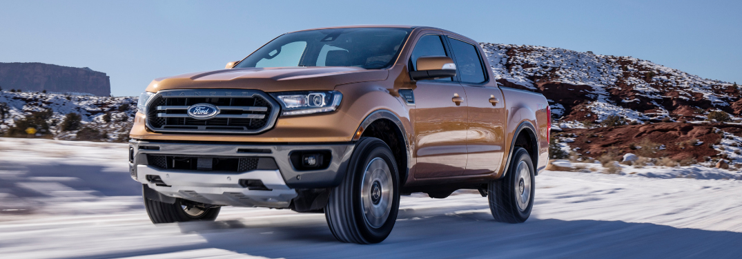 front and side view of bronze 2019 ford ranger