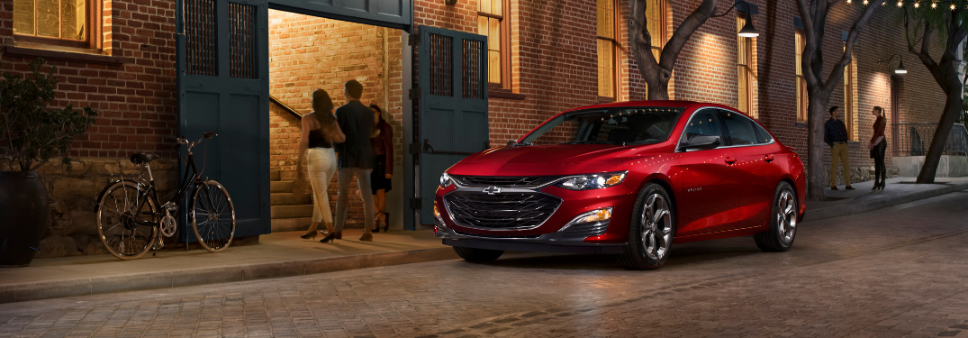 front and side view of red 2019 chevy malibu