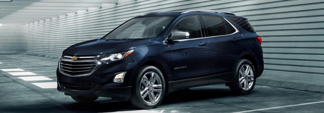 2020 Chevrolet Equinox in Midnight Blue color parked in a lit parking garage