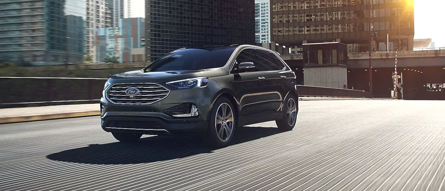 2019 Ford Edge Exterior Driver Side Front Profile in Baltic Sea Green