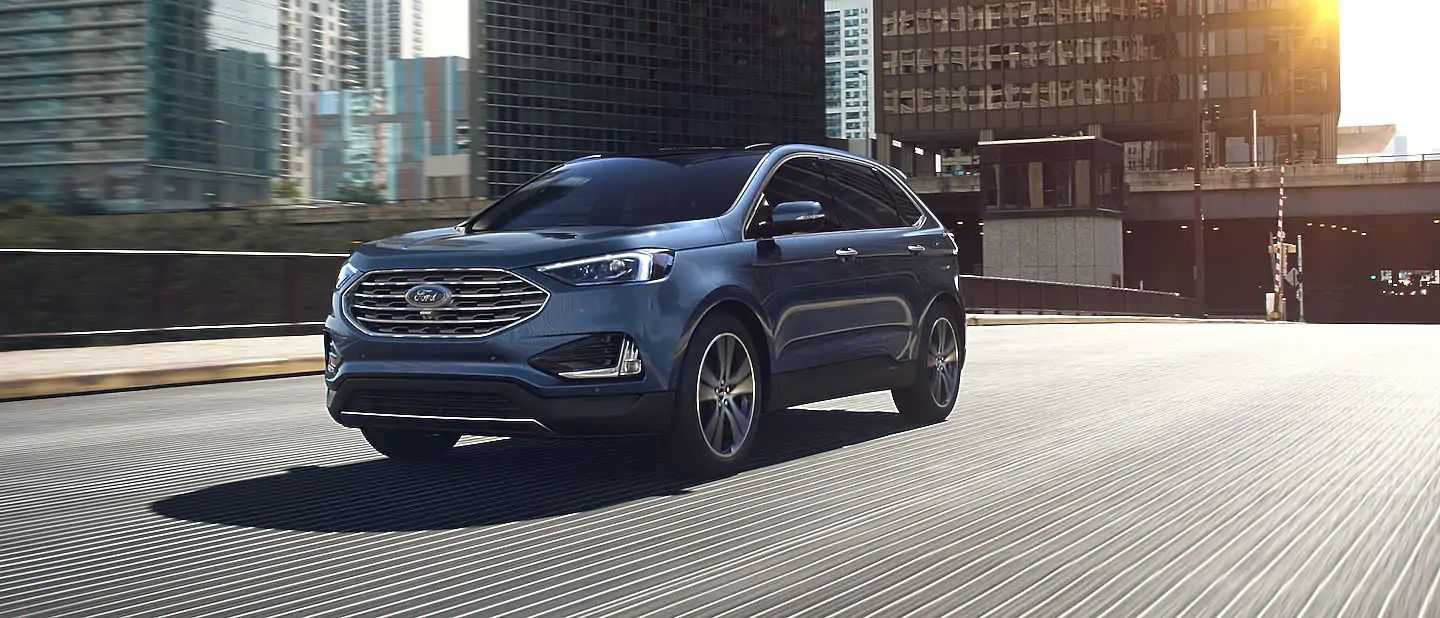 2019 Ford Edge Exterior Driver Side Front Profile in Blue