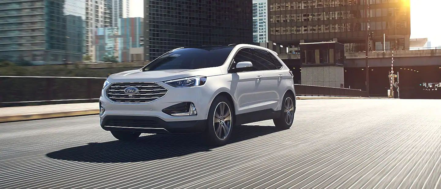 2019 Ford Edge Exterior Driver Side Front Profile in White Platinum