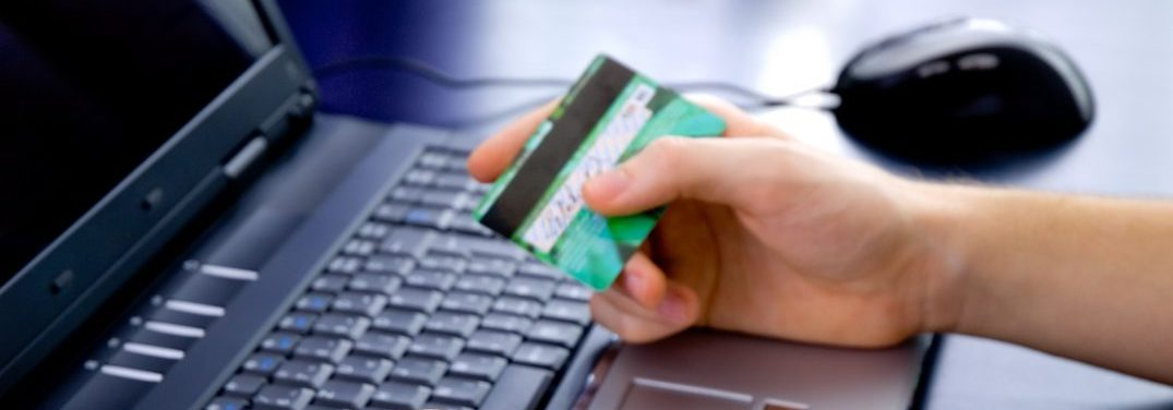 Paying online with credit card. Concept of paying on the net.
