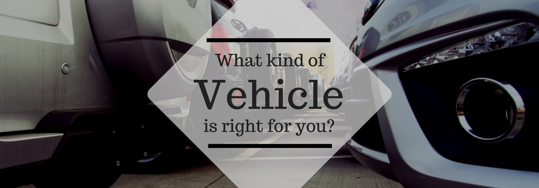 Image of vehicle lot with an overlay that says what kind of vehicle is right for you?