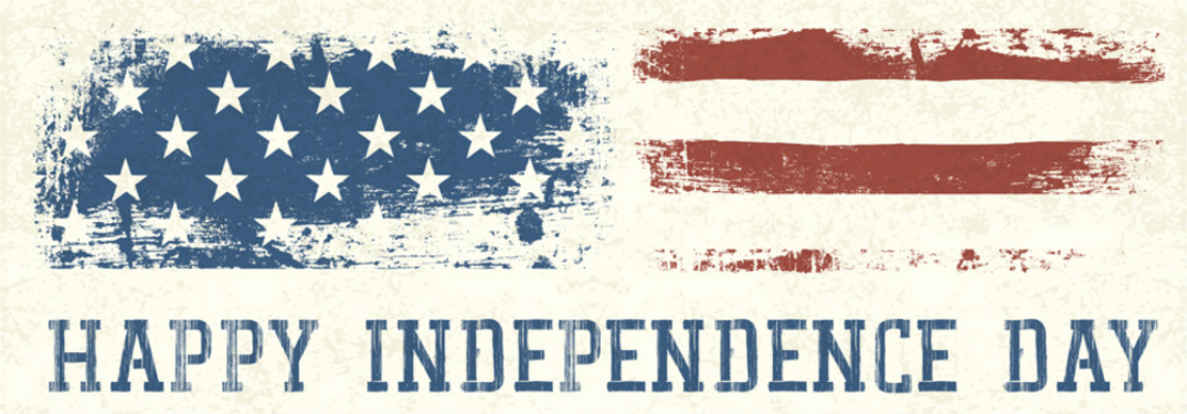 "distressed art of american flag over white background with ""happy independence day"" blue text underneath it"