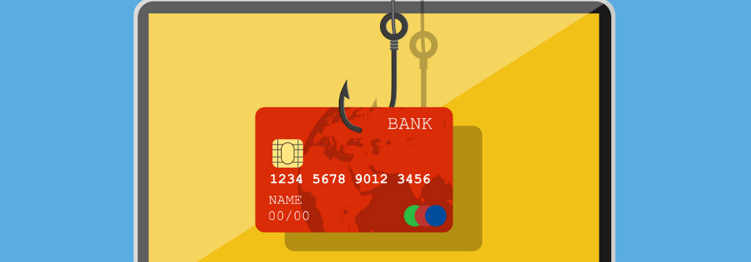 graphic of credit card on laptop screen being hooked by fishing hook