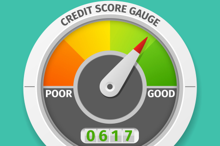credit score gauge with gauge in green showing good and number 617