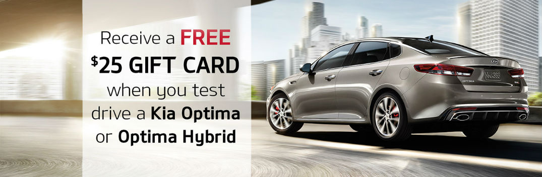 2016 Optima and Optima Hybrid test drive gift card Friendly Kia Tampa FL