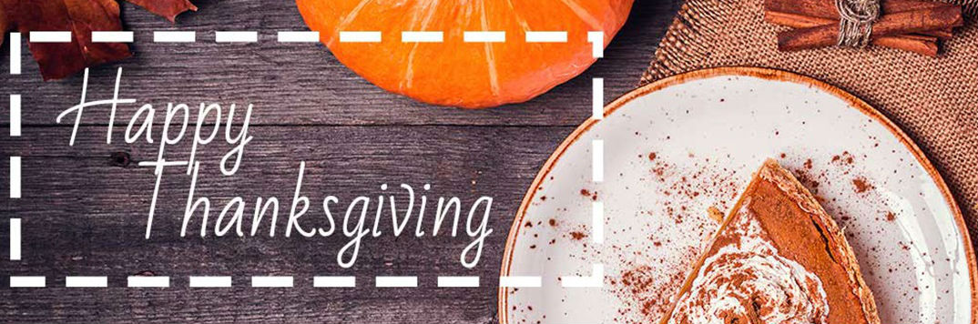 Happy Thanksgiving text for image with pumpkin pie and cinnamon sticks
