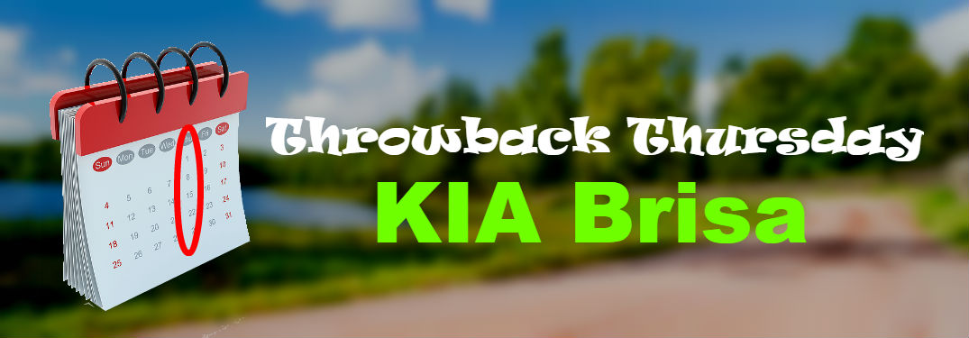 calendar overlaid blurry country road with throwback thursday kia brisa printed over it all