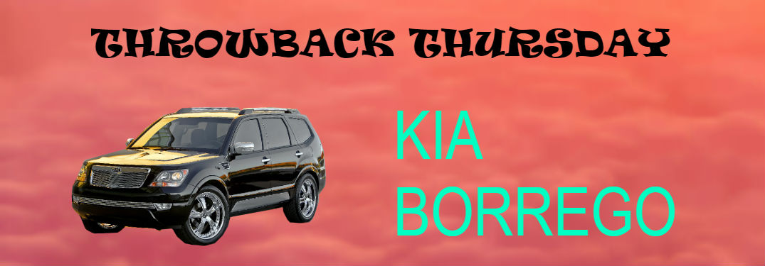 Throwback thursday kia borrego on cloudy background with text overlaid