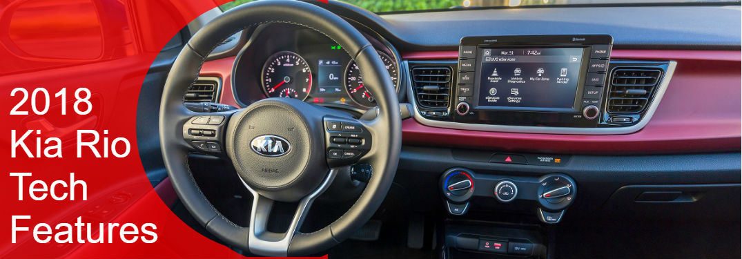 kia rio infotainment system and steering wheel in 2018 kia rio