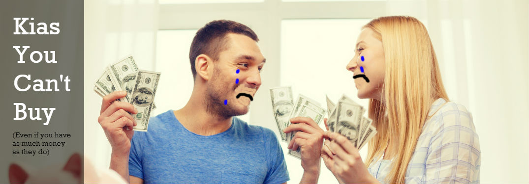 couple holding money with hideously photoshopped sad faces