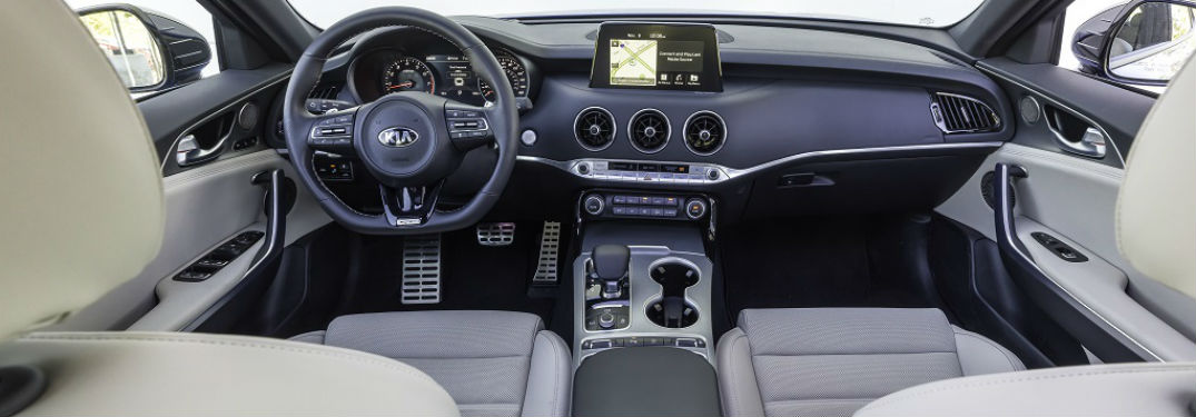 interior of 2018 kia stinger gt2 from back seat