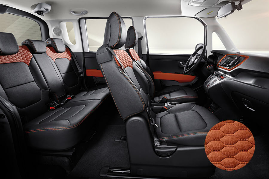 kia ray seating with cutaway side panel