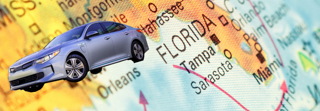 2018 kia optima phev whimsically overlaid on a map of florida and the gulf coast