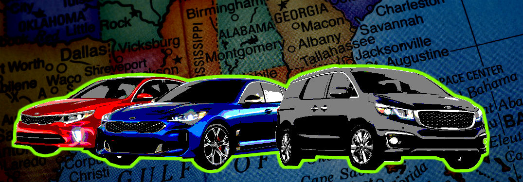 artsy edit of 2018 kia models in front of a map