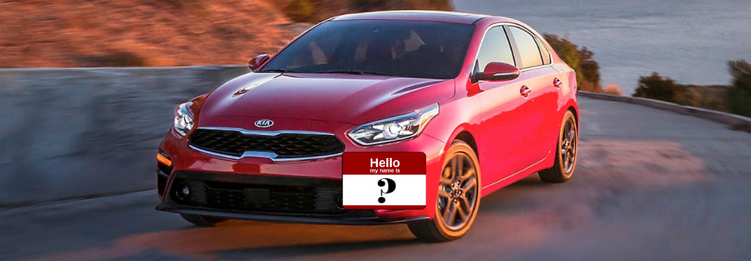 2019 Kia forte in red with a nametag on