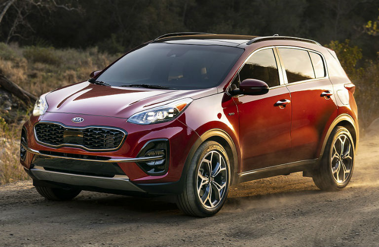 2020 Kia Sportage exterior in red front three quarter view