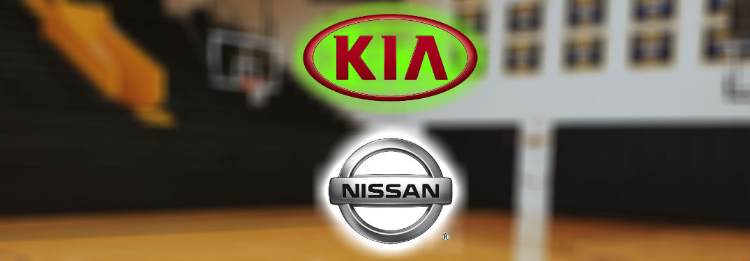 Kia Vs. Nissan logos in front of empty basketball court