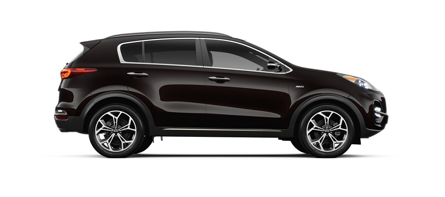 2020 kia sportage on white background in black cherry