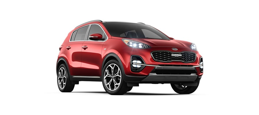 2020 kia sportage on white background in hyper red